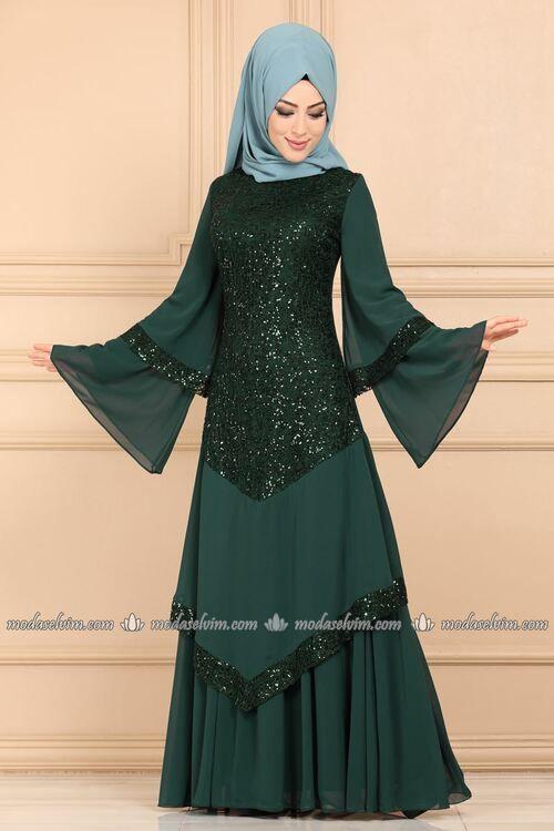 Modaselvim Abiye Volan Kollu Pul Payet Tesettur Abiye Ech7317 Zumrut Elbise Kiyafet Elbise Modelleri