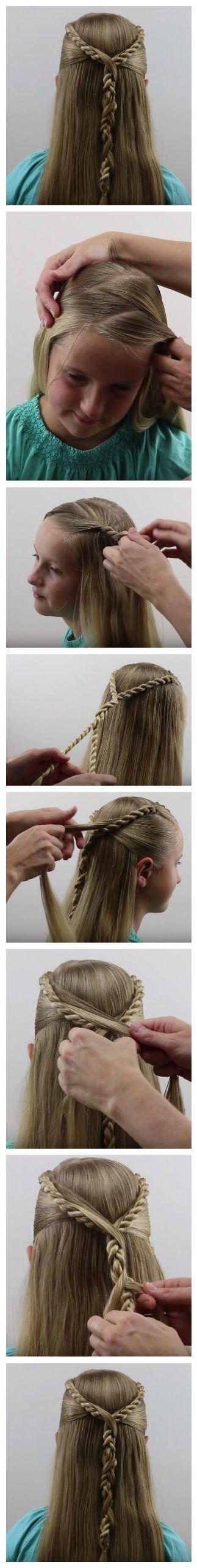 Beautiful Hairstyle -- Rope Twist Hawser Brid Pullback -- #braid #hair #ropebraid #hairstyle #basic_braids #how_to_Braid #alhamdulillah