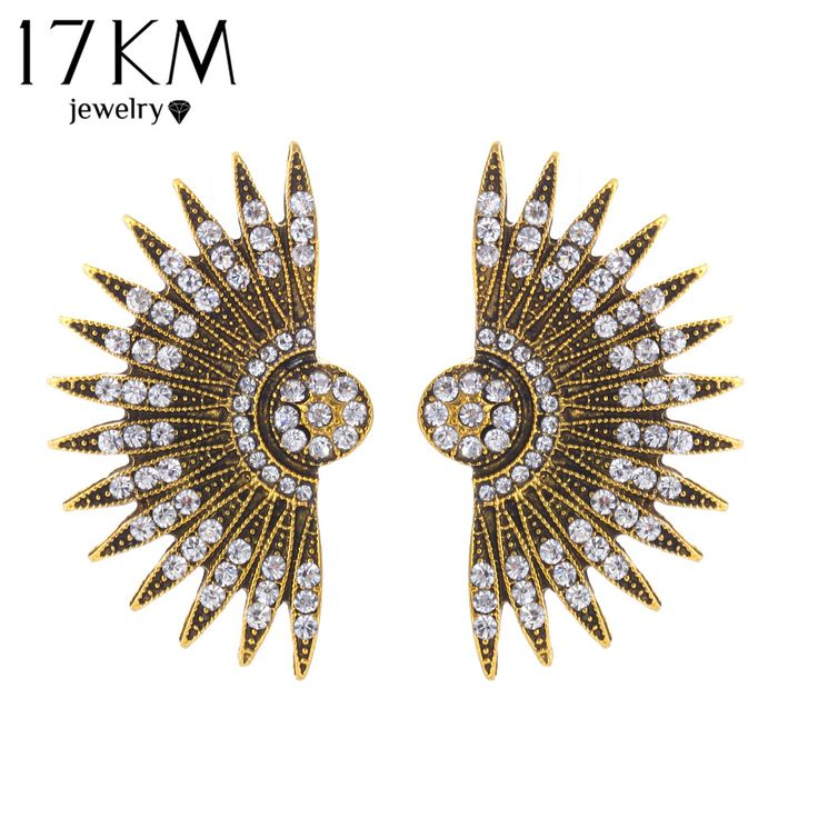 17KM Hot Sale Europe Style Unique Earring Rhinestone Decoration Personality Stud Earrings For Women Gypsy Summer Beach Jewelry