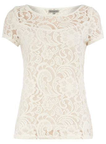 Cream lace tee - Tops - Clothing - Dorothy Perkins United States