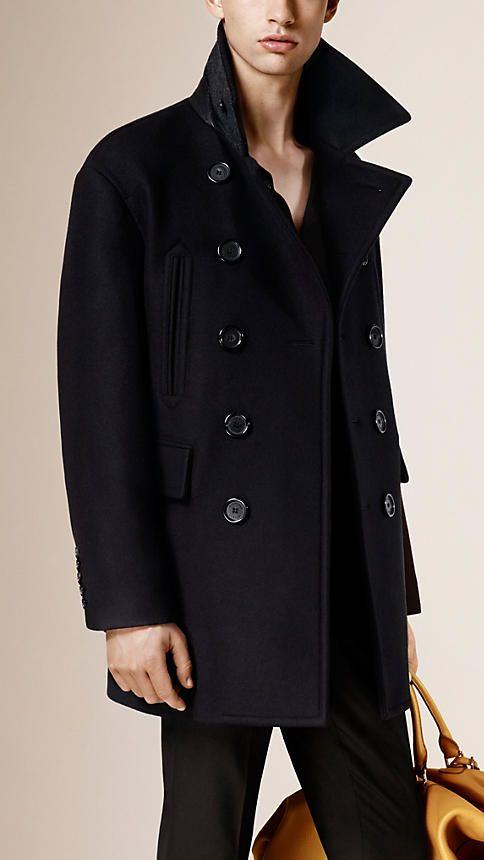 Navy Virgin Wool Blend Pea Coat - Image 1