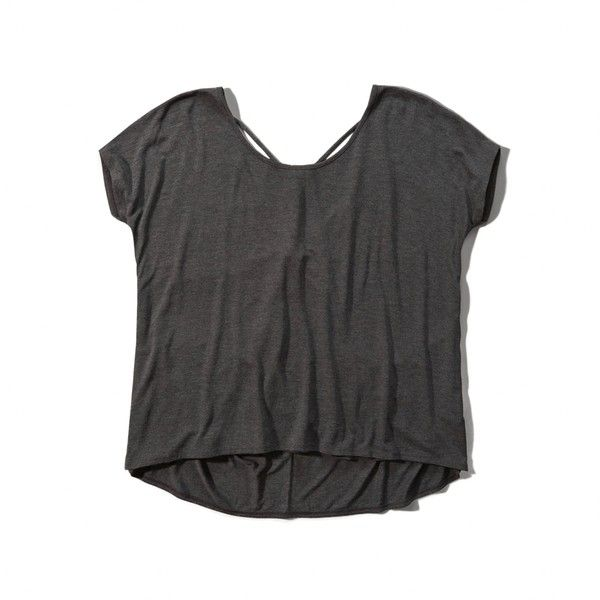 Abercrombie & Fitch Boxy Strappy Back Tee ($18) ❤ liked on Polyvore featuring tops, t-shirts, dark grey, white boxy top, strappy top, abercrombie fitch top, strap tops and drapey tee