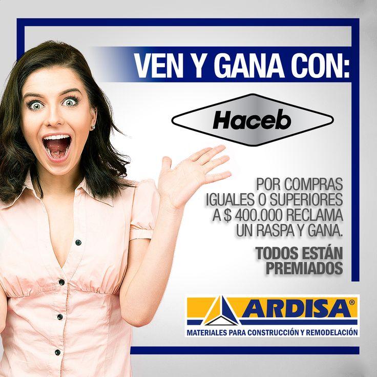 Lo sabes, #Haceb tiene los detalles que le encantan a mamá. Ven a #ARDISA en el mes de las madres y reclama por compras superiores o iguales a $400.000 en productos Haceb un raspa y gana  ¡Todos los raspa están premiados!
