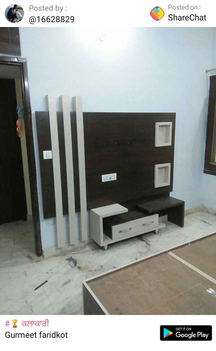 Pin by Charanjit uggi on Cupboards in 2019 | Modern tv wall