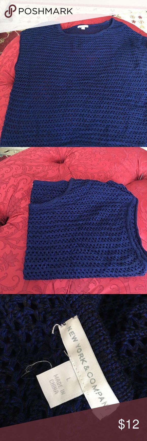 New York and company  navy cap sleeve sweater New York and company navy blue cap sleeve sweater. New York & Company Sweaters