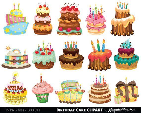 Birthday Cake Clipart Cake Illustration Birthday Cake Digital