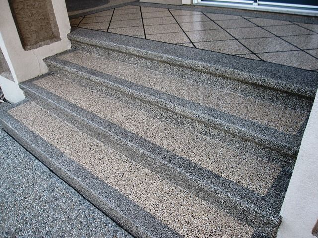 Quartz has great appeal and functionality when used on exterior concrete steps find out more at Exterior concrete floor coatings