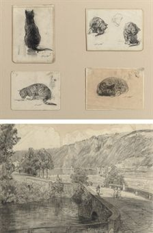 Nicolaas van der Waay (1855-1936)   Four studies of cats (in one frame)   Old Master & Early British Paintings Auction   20th Century, Drawings & Watercolors   Christie's