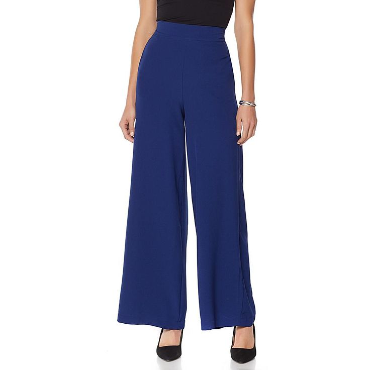Wendy Williams Crepe Pull-On High-Waist Palazzo Pant - Blue