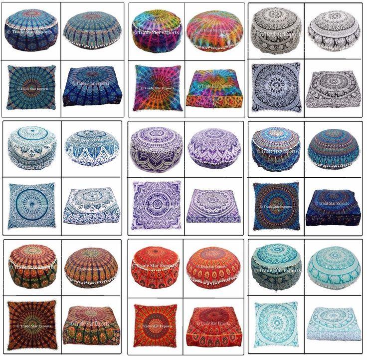 Combo Of Indian Mandala Euro Sham Cushion Cover,Floor Pillow Cases,Ottoman Pouf #Handmade #ArtDecoStyle