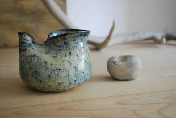 Vintage blue speckled studio ceramic vase. by blackbirdcurated