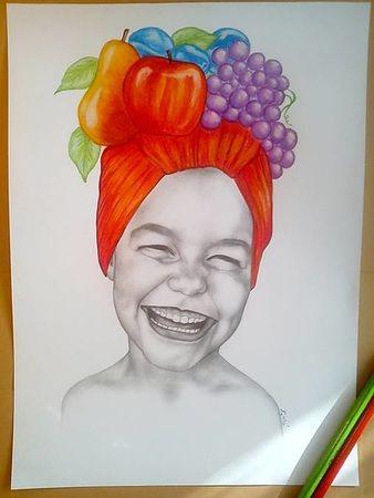 Kreslenie :: Zirnitra - autorský šperk, portrét, realistická kresba dieťaťa, kresba ceruzkou, pastelom, kombinovaná kresba s ovocím.