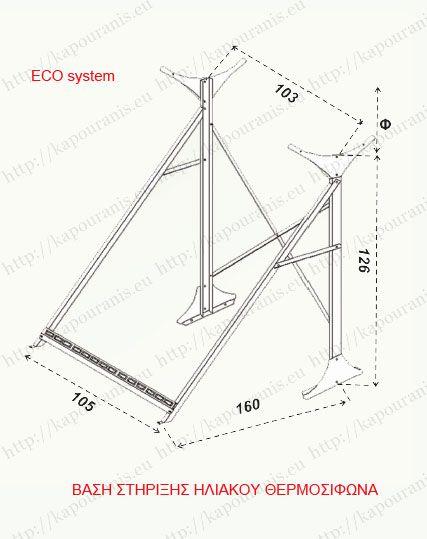 Σχεδιάγραμμα και διαστάσεις βάσης στήριξης ηλιακού θερμοσίφωνα Eco
