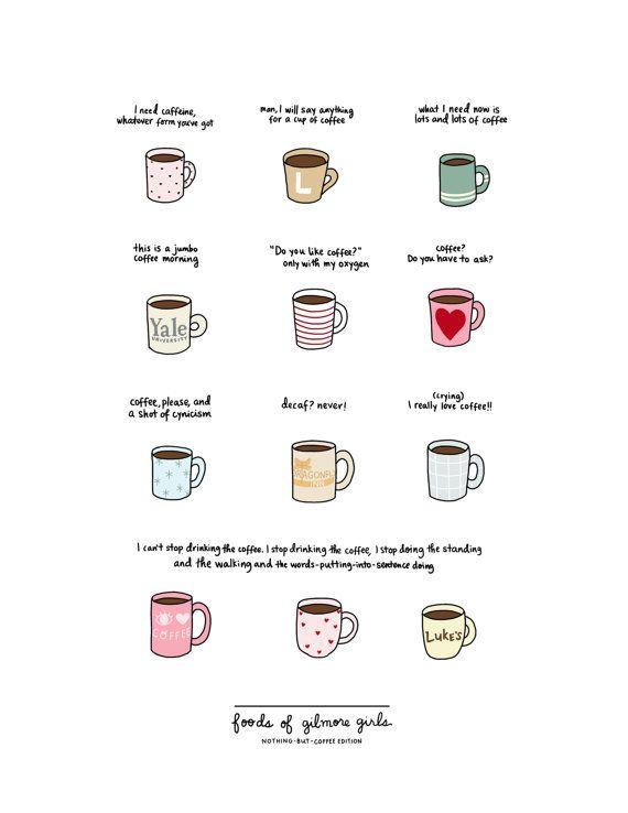 Kaffee Gilmore Girls drucken  Hand-illustrierte von roaringsoftly