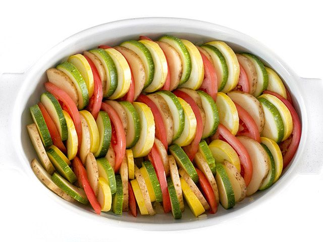 Layer Vegetables in Dish