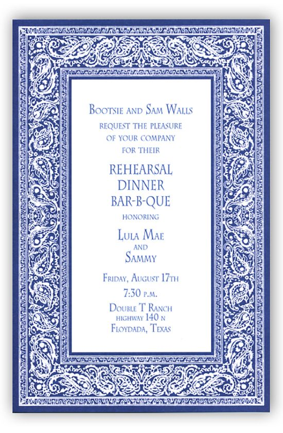 Bandana Navy Invitation | rehearsal dinner barbecue invitationsA rehearsal dinner still needs planning. By the time you get to the wedding, you may be feeling a little fatigued, overwhelmed, and drained. Don't make this hard on yourself! A rehearsal dinner doesn't have to be fancy or formal. Send out rehearsal dinner barbecue invitations for an evening where you and the wedding party can unwind. Nothing calms the nerves like good food on a summer night in the backyard.