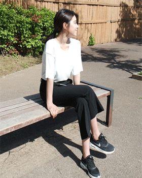 無地シンプル半袖Tシャツ - FLY MODEL - Ladies Solid Simple Short Sleeve T-Shirt