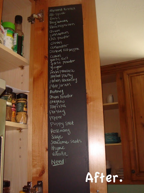 Create a chalkboard on the inside of your cabinet to use for Kitchen cabinets 76244