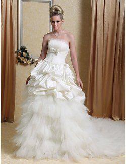 Strapless capilla tren tul satinado vestido de boda con gradas