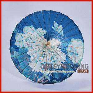 NEW White Peony Blue Oil Paper Wedding Parasol Umbrella Bridal Chinese Knot