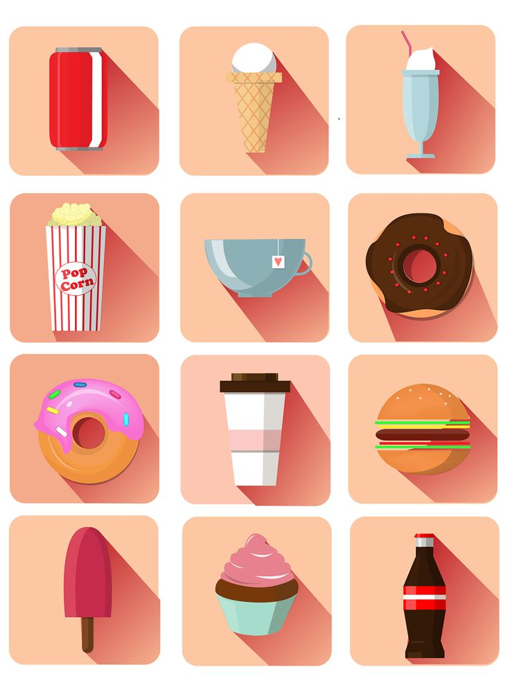 Flat Food Icons on Behance