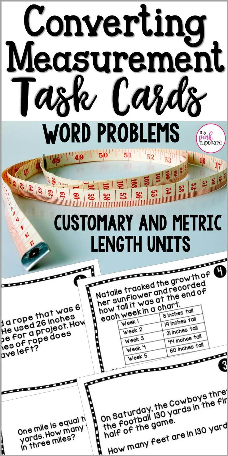 If your students struggle with converting customary to metric measurements, they need lots of opportunity for practice. These task cards are the perfect tool for students to use in order to practice a wide variety of measurement concepts including: converting between inches, feet, yards, and miles; converting between kilometers, meters, centimeters, and millimeters; solving multi-step word problems and more!