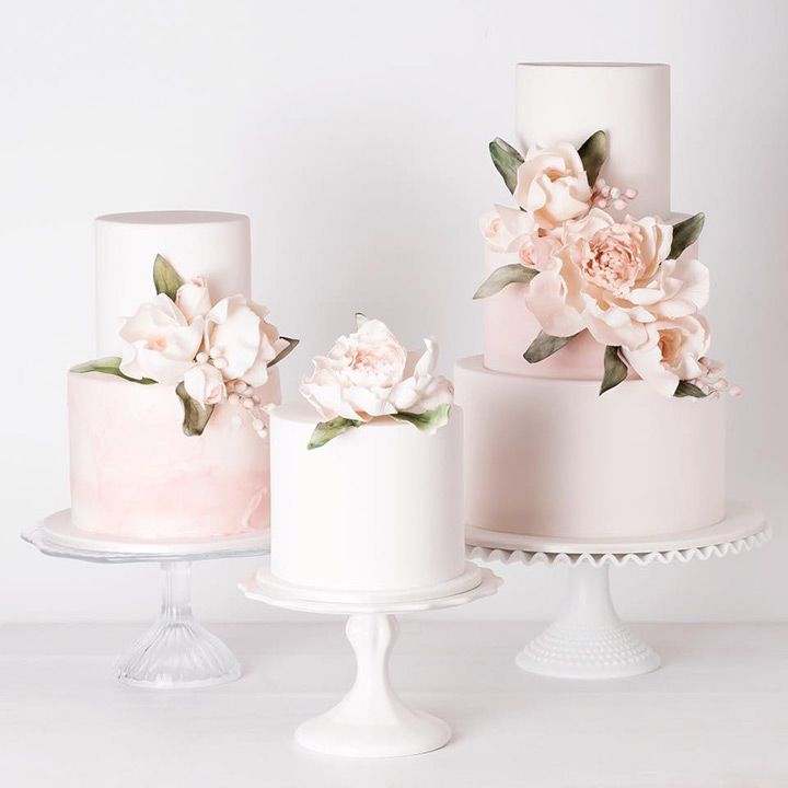 trio of blush pink wedding cakes ~  we ❤ this! moncheribridals.com