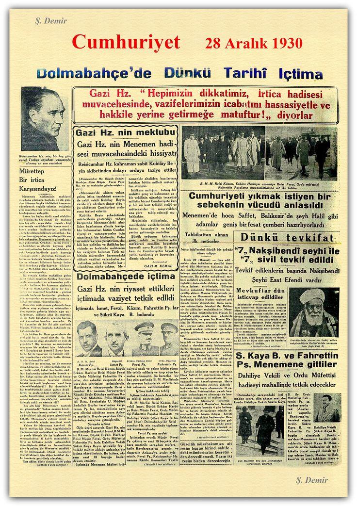 Menemen olayları cumhuriyet gazetesi 28.12.1930