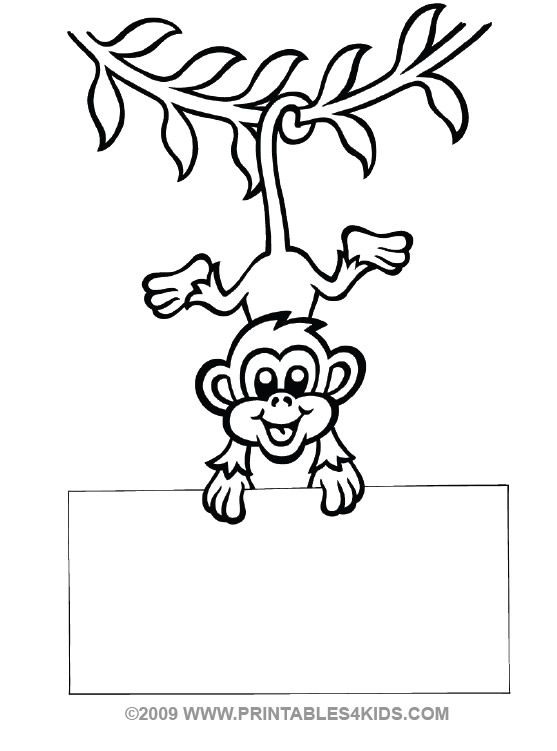 Monkey Hanging Coloring Printables For Kids Free Word Search Puzzles Pages