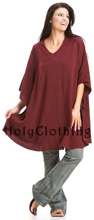Pam Casual Cover-Up Boho V-Neck Kaftan Tunic Long Top in Burgundy Wine ...