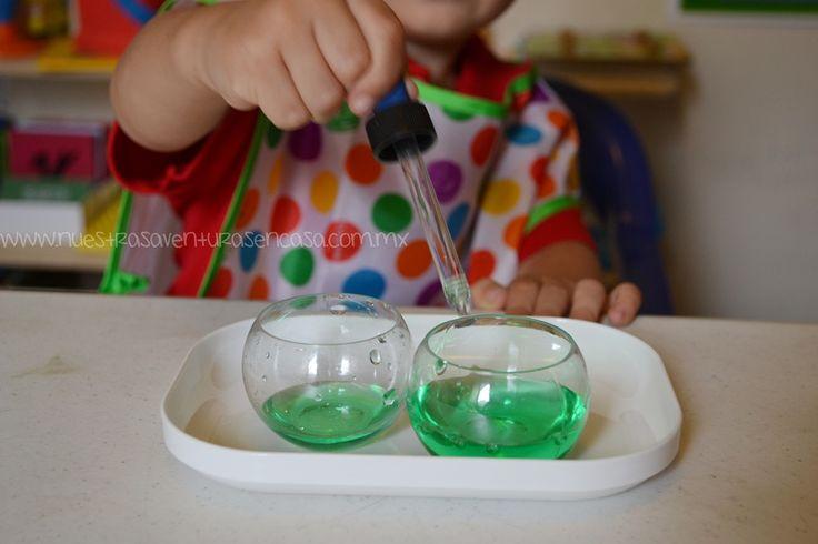 Pasando agua a gotitas - Actividad Montessori - HOMESCHOOL