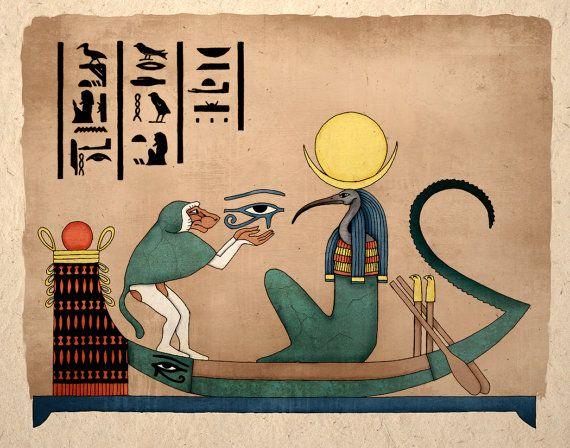 Impresión del arte egipcio Thoth Dios antiguo del conocimiento