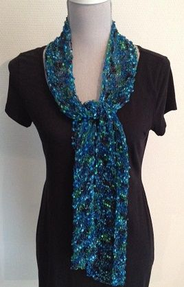 Simply knitted scarf (1k, 1p)  becomes special by the use of this beautiful yarn