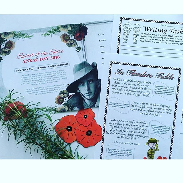 Our ANZAC Day pack includes this In Flanders Field reading and writing activity. Available for Years 3-6  🇦🇺 #holidayprogramming #anzacdayDBT #anzacdayresources #tpt #teachersoftpt