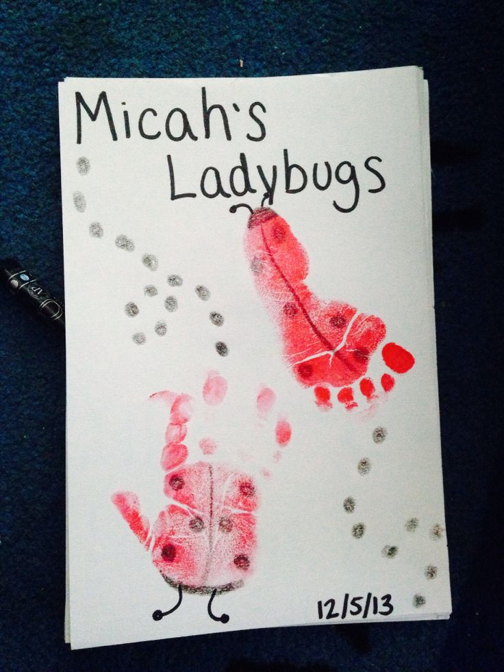 Infant Room Handprint Amp Footprint Art L Is For Ladybugs