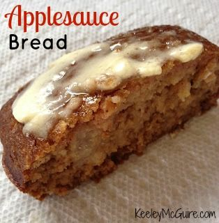 Keeley McGuire: Food for Thought: Applesauce Bread. This was really yummy and super easy to make. I used chunky applesauce so I got chunks of apple in the bread. Very good! Next time I make it, though, I think I use more cinnamon and less nutmeg.