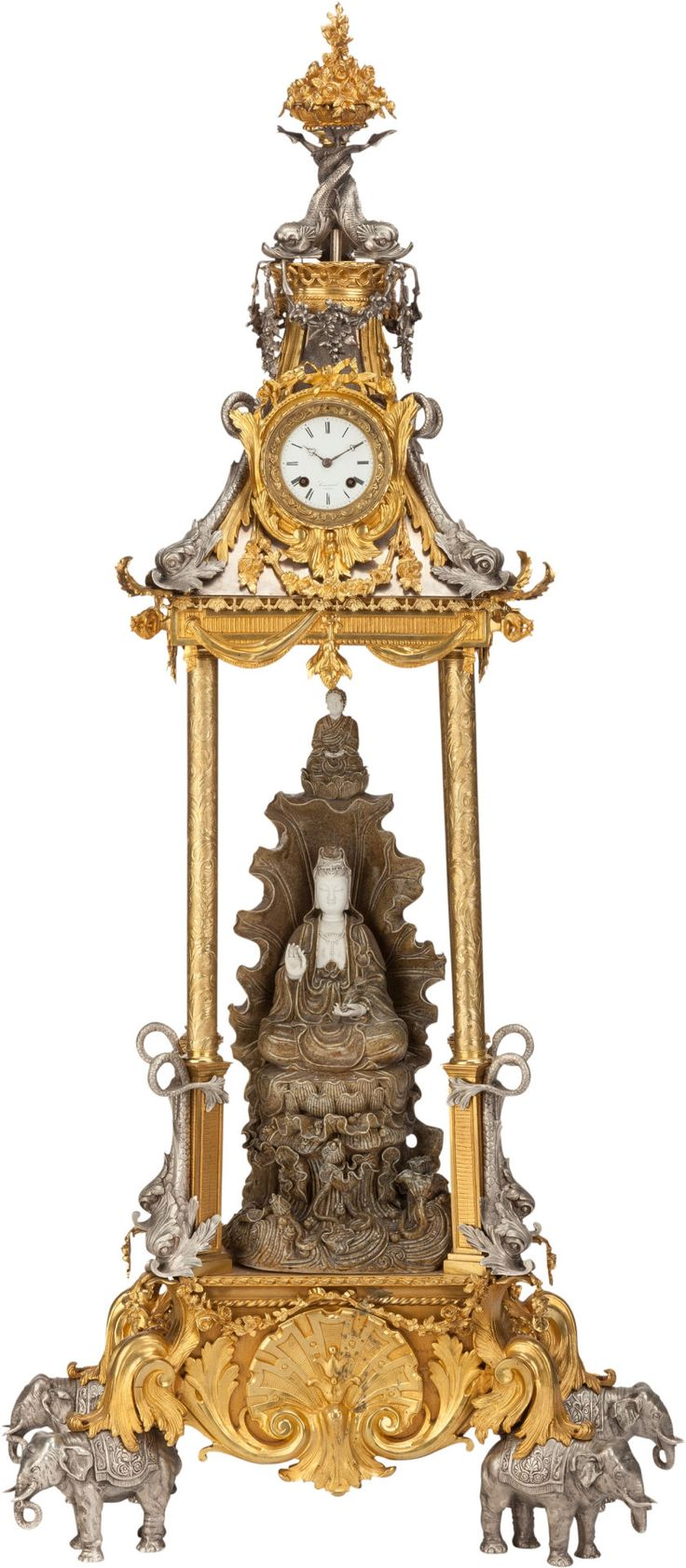 A LARGE FRENCH SILVERED, GILT BRONZE AND PORCELAIN CHINOISERIE CLOCK, Simiand, Paris, France, late 19th century.