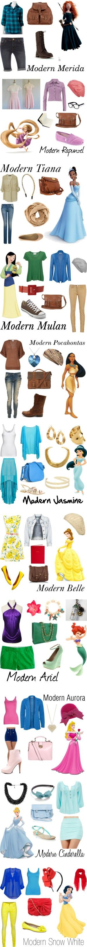 """Modern Disney Princesses"" by sharkbitegal on Polyvore. Mine would be Merida, Mulan, Rapunzel, and Pocahontas :)"