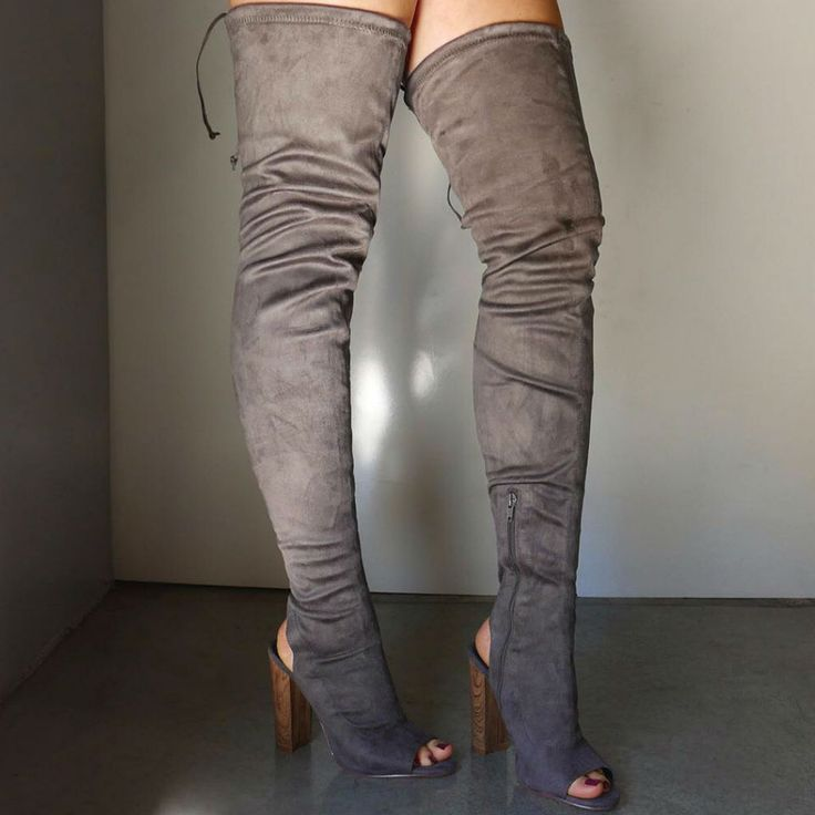 Peep Toe Cut Out Thigh High Boots