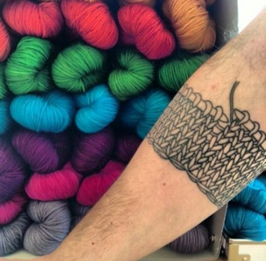 Awesome knitting tattoo from https://instagram.com/p/mHuJyzn0mK/  #knitting #tattoo
