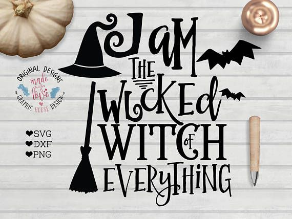 Witch Halloween Cut File available in SVG, DXF and PNG format for personal and small business use craft projects.