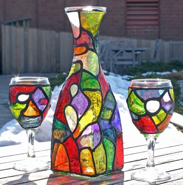 Art: Funky Organic Stained Glass Painted Wine Decanter & 2 glasses set by Artist Diane G. Casey