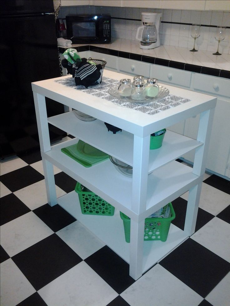 Ikea Hack - Ikea Lack Coffee tables turned cute little kitchen island by a DIY beginner.