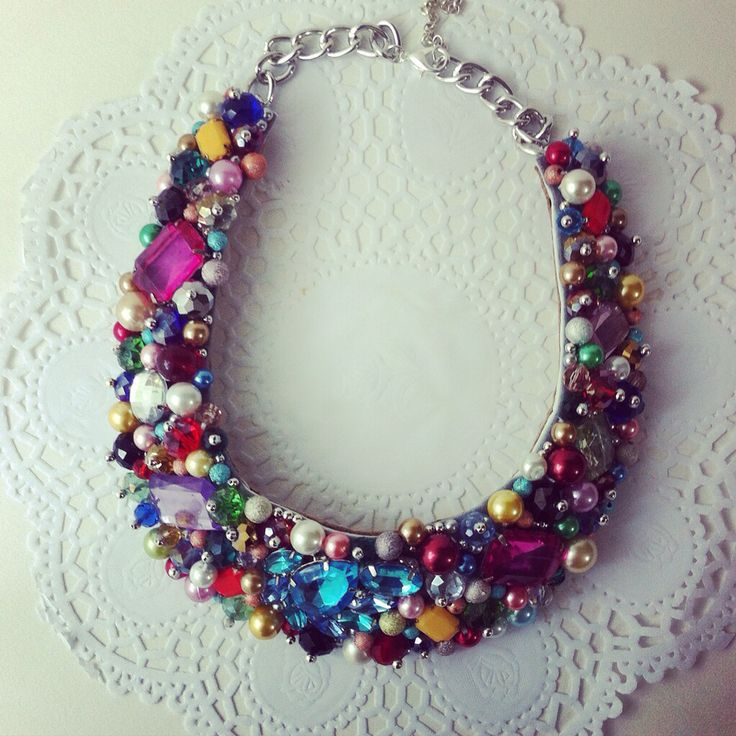 Handmade statement necklace - glass pearls and gem stones