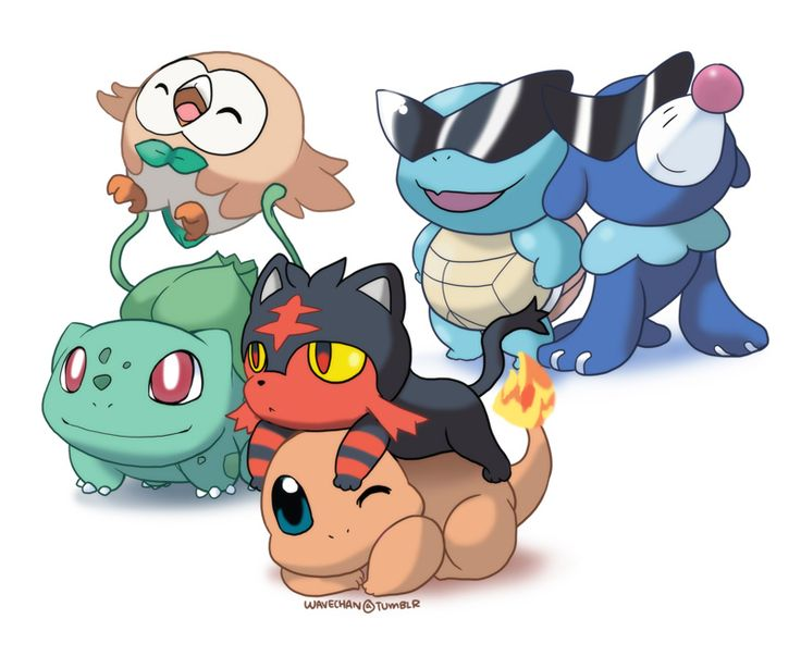 Gen 1 welcoming the new Pokemon starters! By Wave
