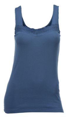 Natural Reflections Eyelet Trim Tank Top for Ladies - Bijou Blue - XXL