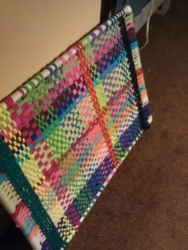 Diy loom rag rug made with PVC