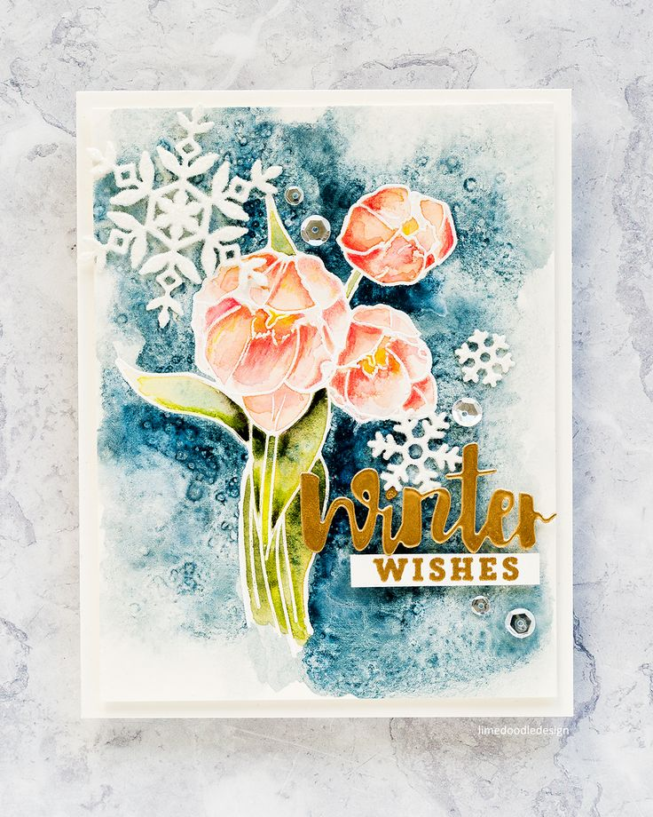 Watercoloured winter florals handmade card by Debby Hughes using the Wplus9 STAMPtember stamp set. Find out more here: http://limedoodledesign.com/2017/09/wplus9-stamptember-winter-florals/