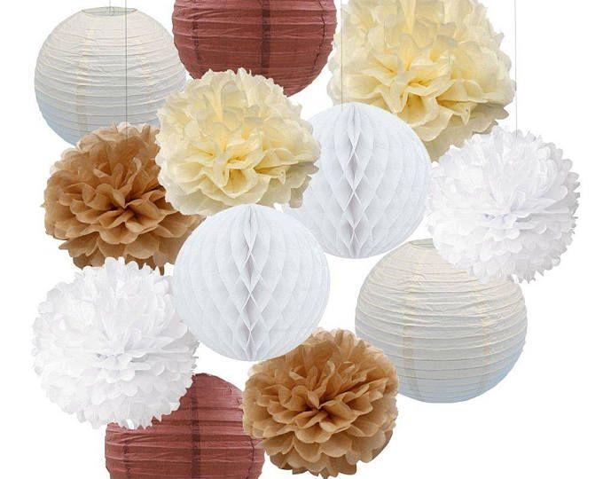 f70b18d7a1d2 12PCS Cream Tan White Party Paper Kit Tissue Pom Poms Paper Lantern  Honeycomball Rustic Wedding Vintage Baby Shower Nursery Decoration