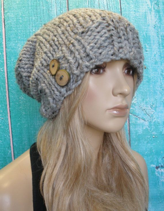 Slouchy Beanie Hat Winter Hand Knit Oatmeal Gray by CoconutChic, $24.00